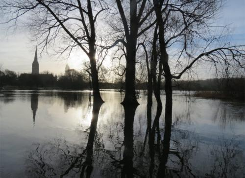41. Salisbury Cathedral during floods