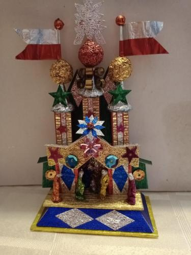 Szopka Krakowska- traditional Krakow coloured foil crib scene, Hanc family